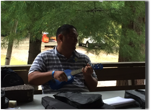 Tyson from Hawaii teaching Ukelele class
